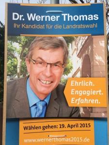 Wahlplakat von Dr. Werner Thomas.