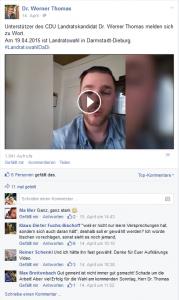 Screenshot der öffentlichen Facebook-Seite von Werner Thomas.